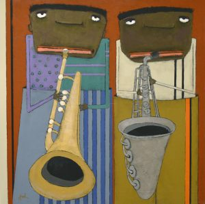 Fred S Latest Blues And Jazz Paintings Red Raven Art Company